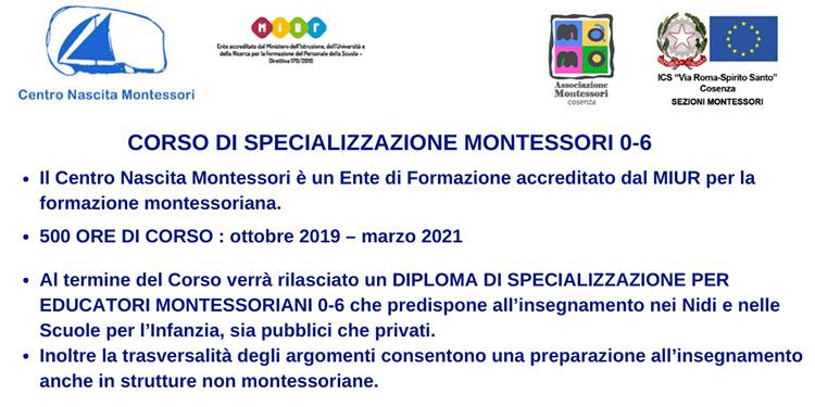 Corso di specializzazione Montessori 0-6